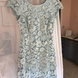 Light Blue Open-Back Lace Dress